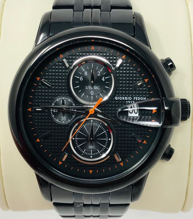 "Giorgio Fedon 1919 - Chronograph Hawk Eye Black  PVD Stainless Steel Strap ""NO RESERVE PRICE"" - GFAC006 - 男士 - BRAND NEW"