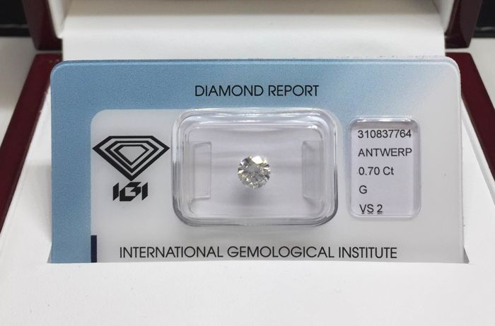 Diamant - 0.70 ct - Briljant, Rond - G - VS2