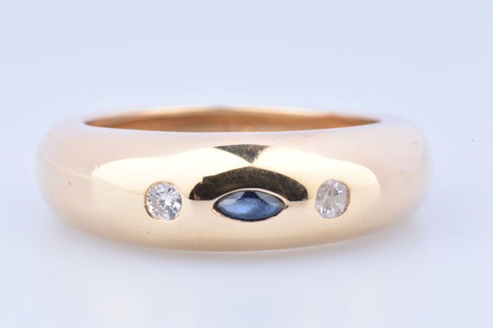 18 kt. Yellow gold - Ring Sapphire - Diamond