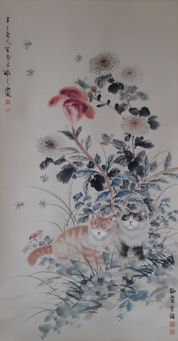 Ink painting - Chinese scroll painting on paper - 《曹克家-猫》Made after  Cao Ke-jia - China - Late 20th century