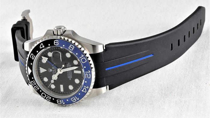 """Swiss """"Rubber B"""" strap, suitable for Rolex - Daytona, GMT, Submariner, Yachtmaster etc. 40 mm - NO RESERVE!! - New Model - Stainless Steel Clasp - Never worn - Unisex - 2019"""
