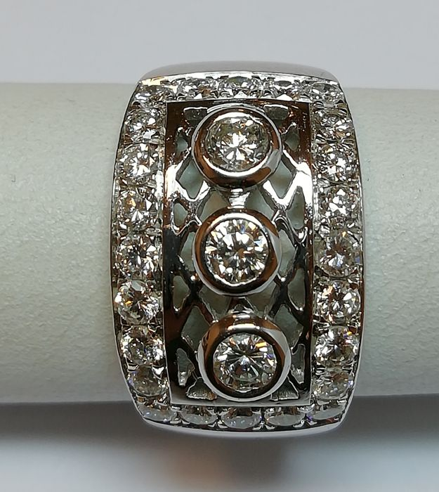 18 karaat Witgoud - Ring - 1.00 ct Diamant - Diamanten