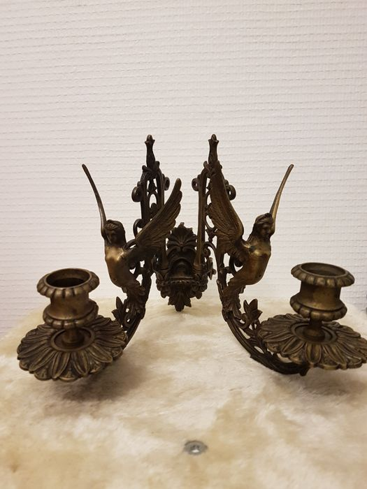 Candlestick, Lamp, Metalware, Sculpture - Napoleon III Style - Metal bronze color