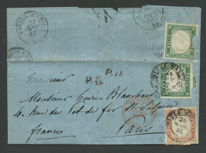 Sardinië 1855 - From Nice to Paris of 26 January 1857 with 2 pieces of 5 cents emerald green and 40 cents pale vermilion - Sassone N.13d-16