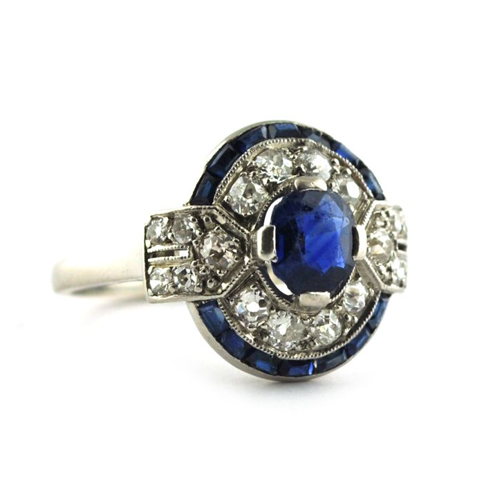 Exclusive Authentic Art Deco - PT 950 Platine - Bague Saphir - Diamants
