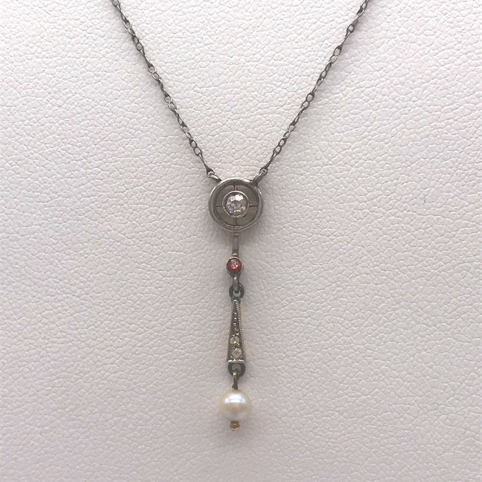 15 kt. Gold, Silver, Yellow gold - Necklace with pendant Diamond - Diamonds, Pearls, Ruby
