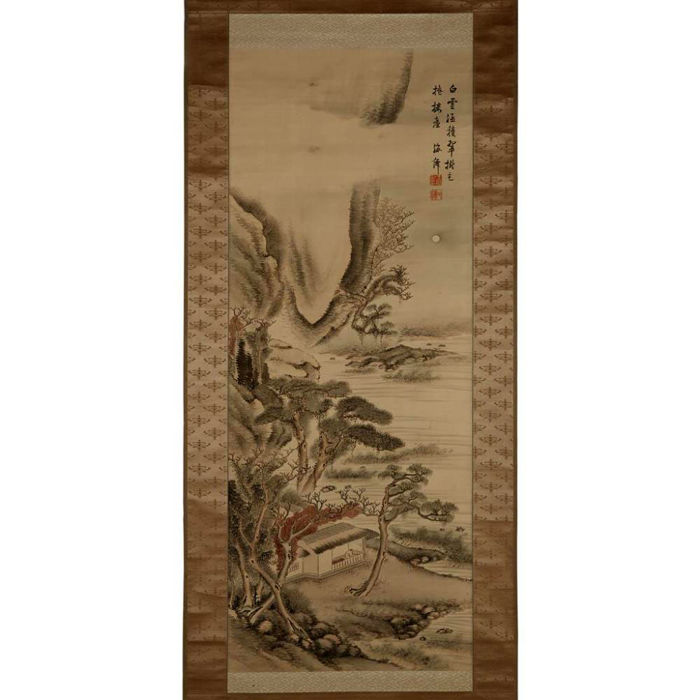 Hanging Scroll, Schilderij - Scholar's Retreated Along a River - Papier - Inscribed and with Two Seals, Oda Kaisen (1785-1862)  - A Japanese Hanging Scroll with Silk Ribbons and  Decorative Silk Border - Japan - Late Edo periode