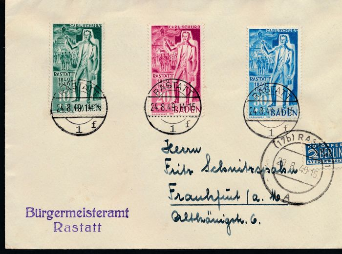 Baden - Franse zone 1948 - Carl Schurz 10 PF - 30 PF on FDC (first day cover) - Michel Nr. 50/52 -  FDC
