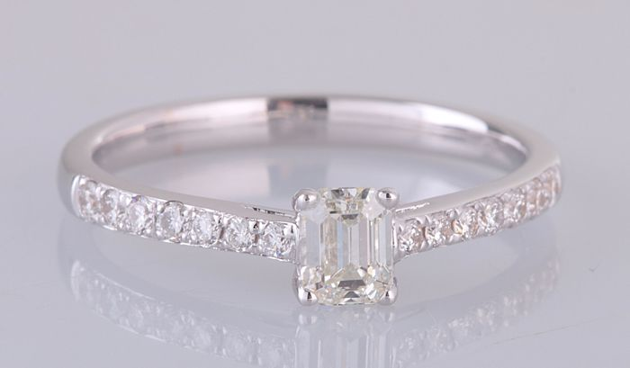 18 carats Or blanc - Bague - 0.55 ct Diamant - Diamant