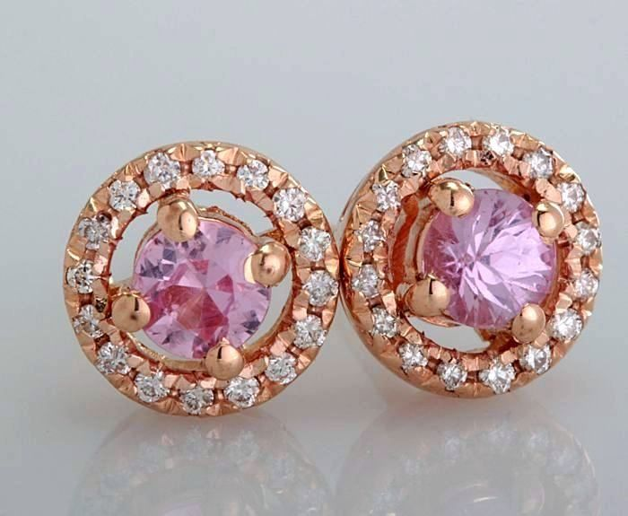 14 quilates Oro rosa - Pendientes - 0.50 ct Zafiro - Diamante