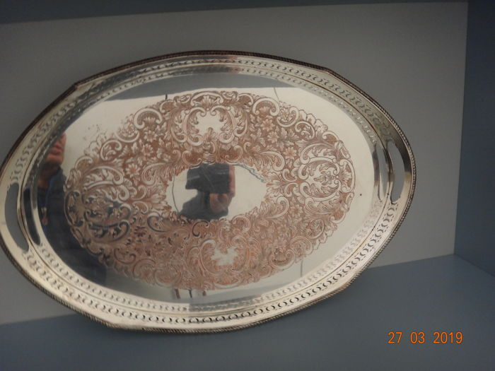 Salver - silver on copper - England - Late 19th century