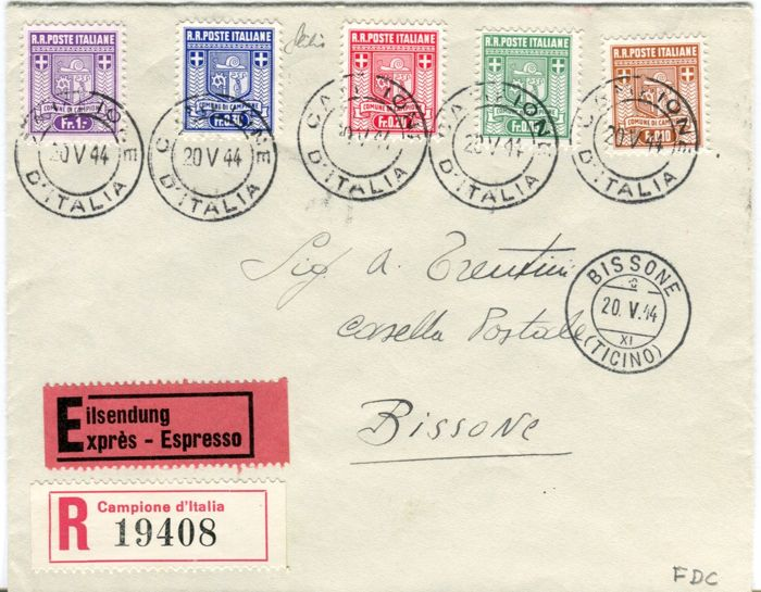 Italië - Campione 1944 - First issue coat of arms I issue on registered mail - Sassone N. 1a/5a