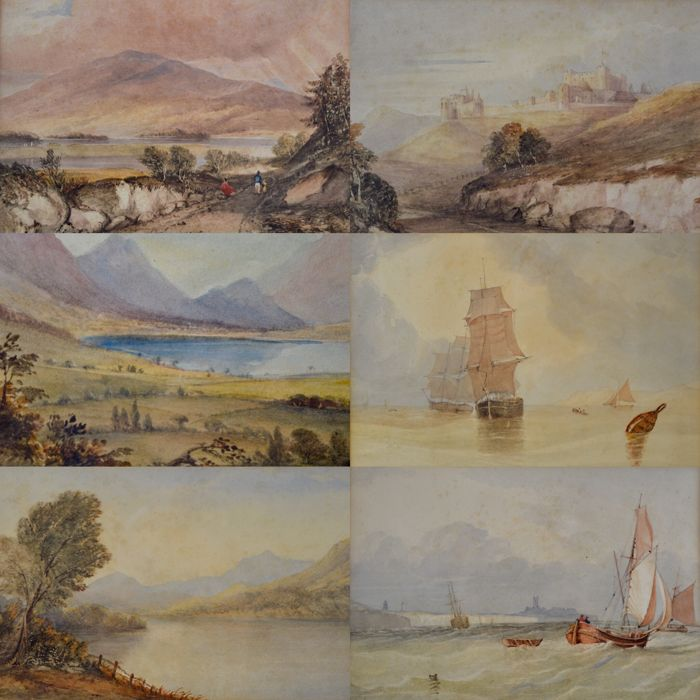 English school (19th century) - Six landscape and marine scenes