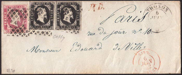 Koninkrijk Sardinië 1852 - I issue c. 5 black horizontal pair + c. 40 pink on letter from Thonon to Paris 6/6/52 - Sassone N. 1 + 1 + 3