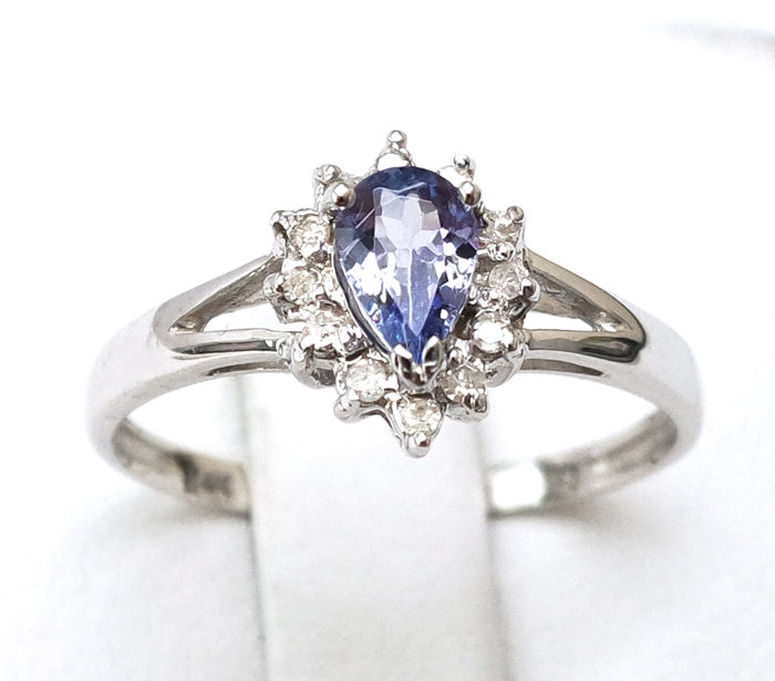 14 kt. White gold - Ring - 0.50 ct Tanzanite - Diamond