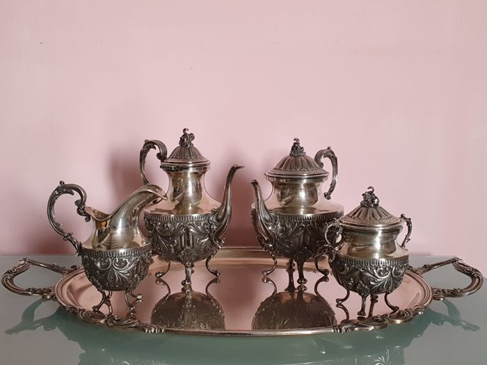 Coffee and tea service (5) - .800 silver - Italy - Second half 20th century