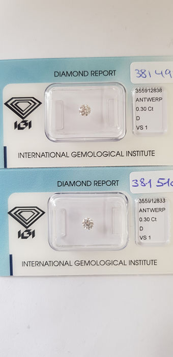 2 pcs Diamanti - 0.60 ct - Brillante - D (incolore) - VS1