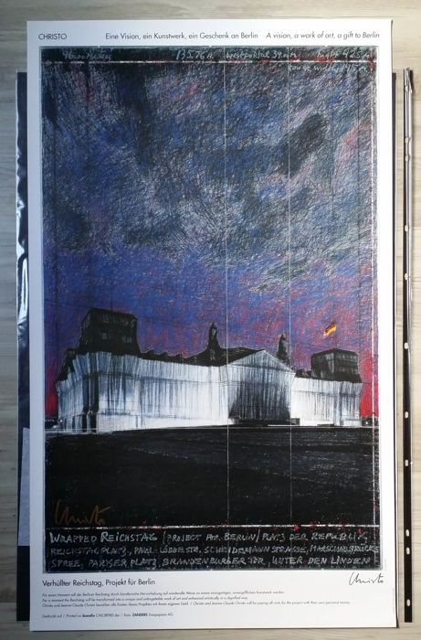 Christo  - Wrapped Reichstag, Berlin 1995 - Affiche Edition - Rare Signed
