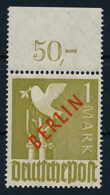 Berlin 1949 - Red overprint, 1 mark, from upper margin - Michel Nr. 33 P OR dgz ; tief geprüft Lippschütz