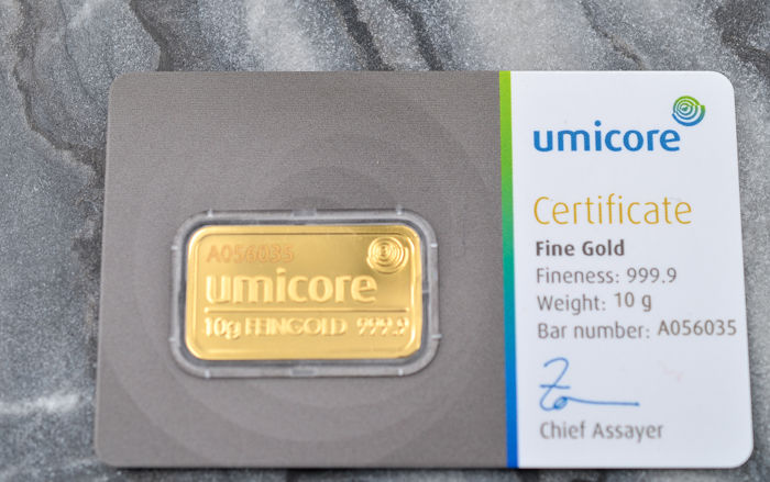 10 grammes - Or .999 (24 carats) - Umicore - Certificat