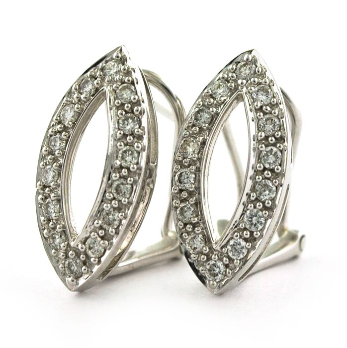 18 quilates Oro blanco - Pendientes Diamante