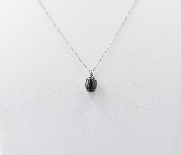 18 kt. White gold - Necklace - 1.18 ct Onyx