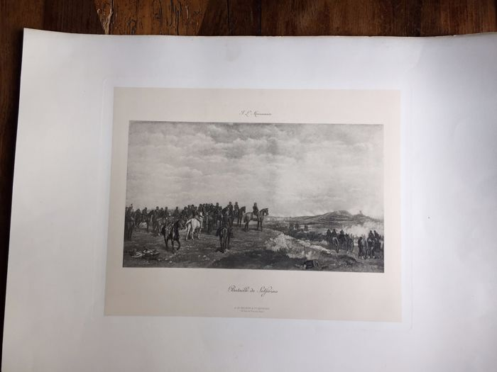 Engraving on strong paper - Ernest Meissonnier: 'Bataille de Solférino' - 19th century