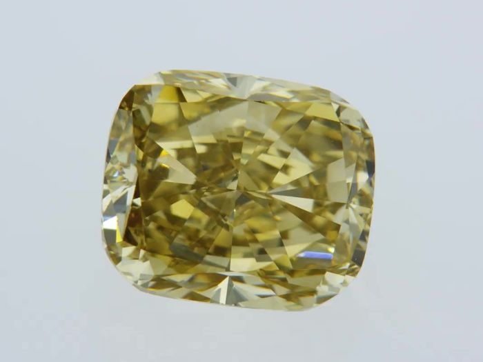 1 pcs Diamant - 2.15 ct - Coussin - fancy deep brownish yellow - VVS2