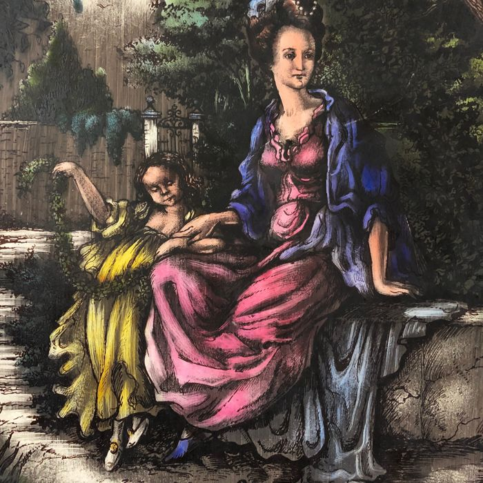 """Stained-glass window hanger """"Mother and daughter"""" (1) - Glas-in-lood"""