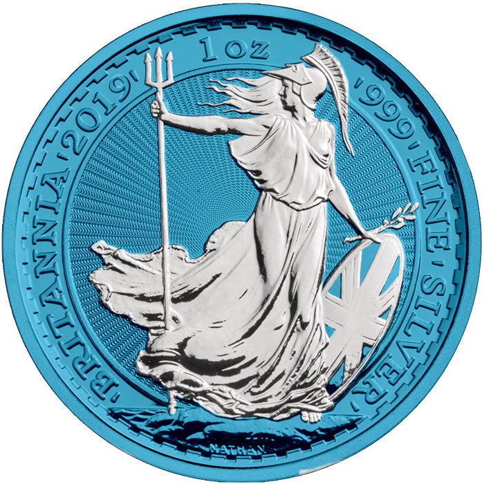 United Kingdom - 2 Pound 2019 Royal Mint Britannia Space Blue - 1 Oz - Silver