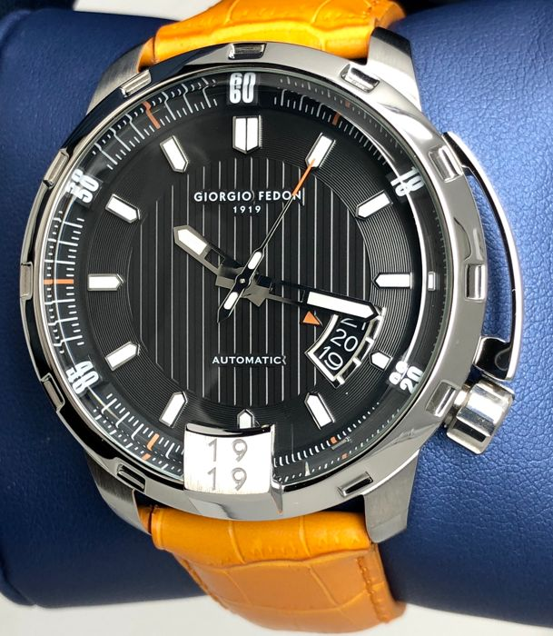 "Giorgio Fedon 1919 - Mechanical Automatic Timeless V Stainless steel Orange Leather Strap  - GFBP001 ""NO RESERVE PRICE"" - Män - Brand New"
