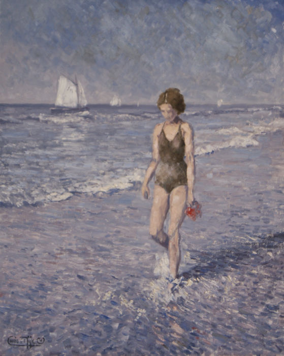 "Chris van Dijk -  """"Lady in a bathing suit scrolling in the sea water """""