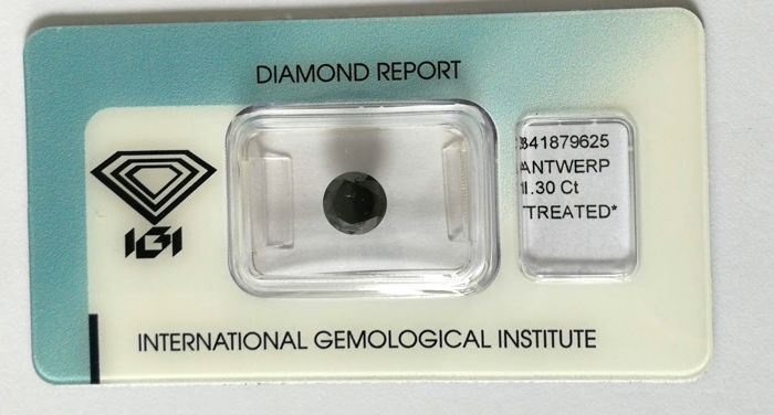 1 pcs Diamante - 1.30 ct - Brillante - Black - P