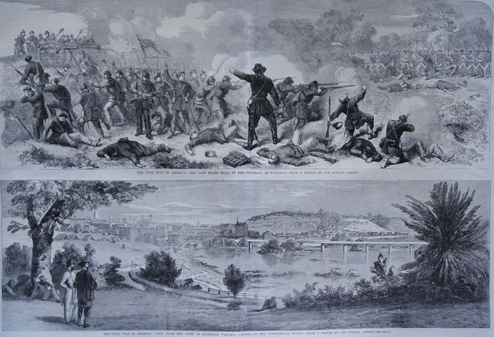 V.S., Richmond, Virginia, American Civil War, Confederate States; The London Illustrated News - 3 sheets - 1861-1880