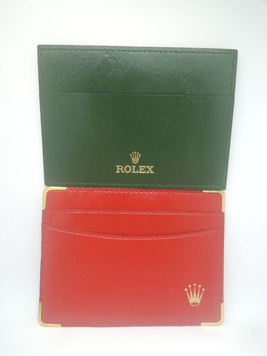 "Rolex - 2pcs Card Holder Wallet Green 4119209.34 Red 0101.60.34 ""NO Reserve Price"" - Unisex - 1980-1989"