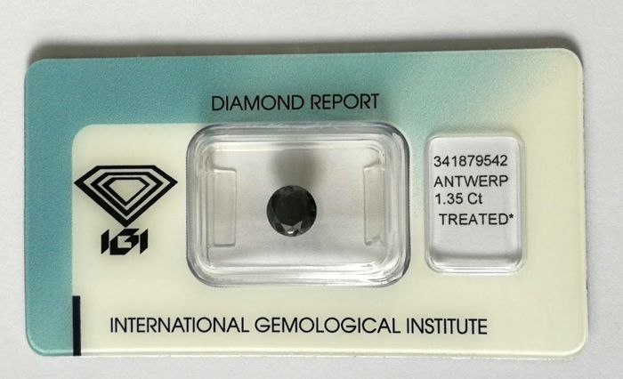 1 pcs Diamond - 1.35 ct - Briliáns - Black - P