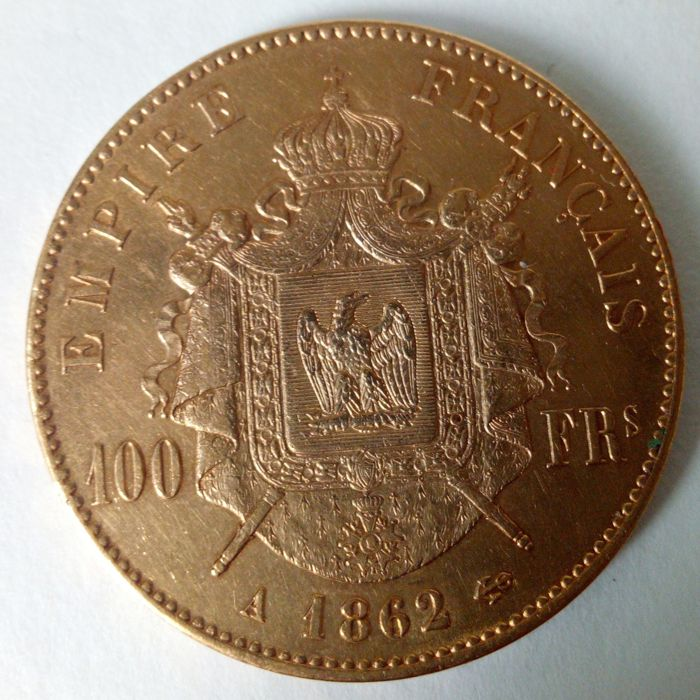 100 Francs 1862 A  ( Laureate Head ) - Or