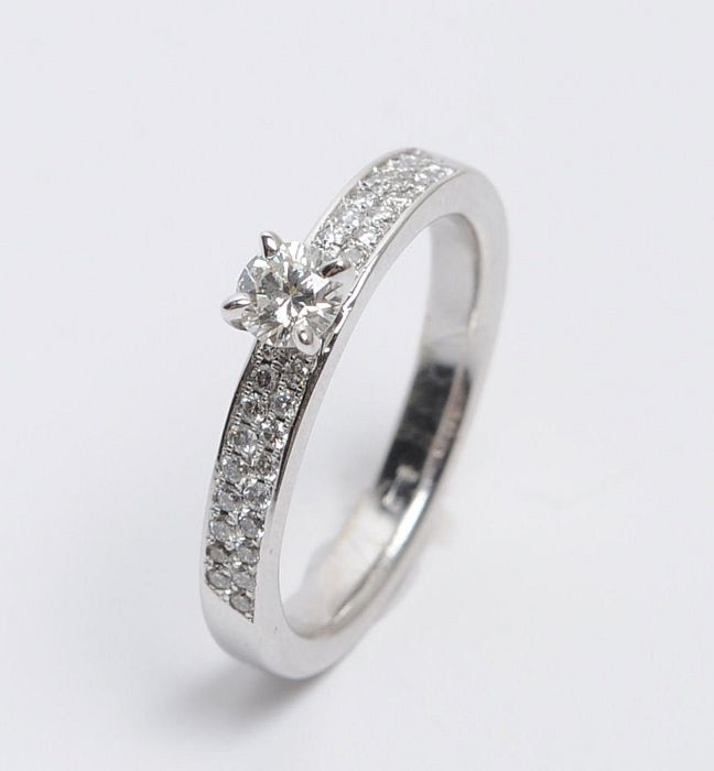 14 karaat Witgoud - Ring - 0.28 ct Diamant - Diamant