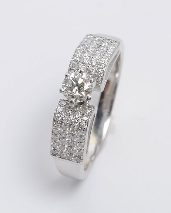 14 kt. White gold - Ring - 0.30 ct Diamond - Diamond