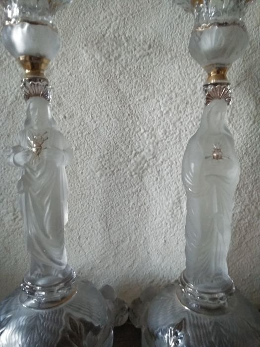 Portieux - Pair of Candlesticks - Sacred Heart Jesus & Mary - glass, frosted glass, gilding for sale