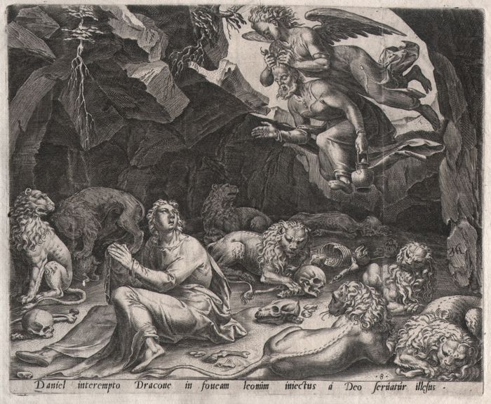 Maarten van Heemskerck (1498-1574) - Daniel in the lion's den - Philips Galle