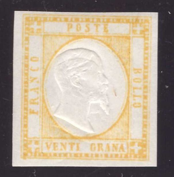 Neapolitan provinces 1861 - 20 grana yellow with double effigy strongly distanced - Sassone N. 23