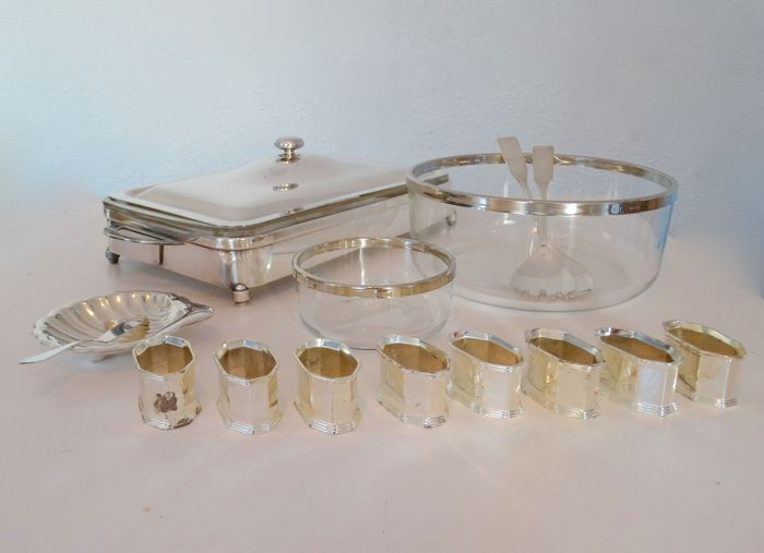 Bowl, Container, Salad cuttlery, Buttershell,butterknive,Napkinring (15) - Glass, Silverplate