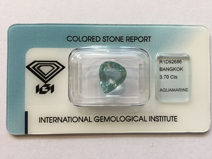 1 pcs blu-verde Acquamarina - 3.70 ct