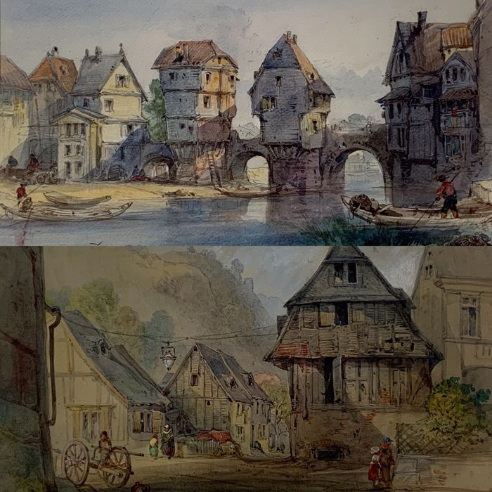 Continental school (19th century) - Continental town scenes with figures