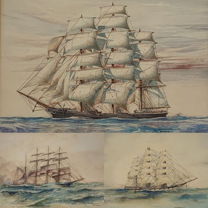 S Harwood (20th century) - Sir Lancelot, Middlesex and Archibald Russell under sail
