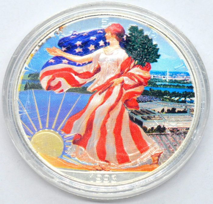 VS - 1 Dollar 1993 Walking Liberty - colored - 1 Oz - Zilver