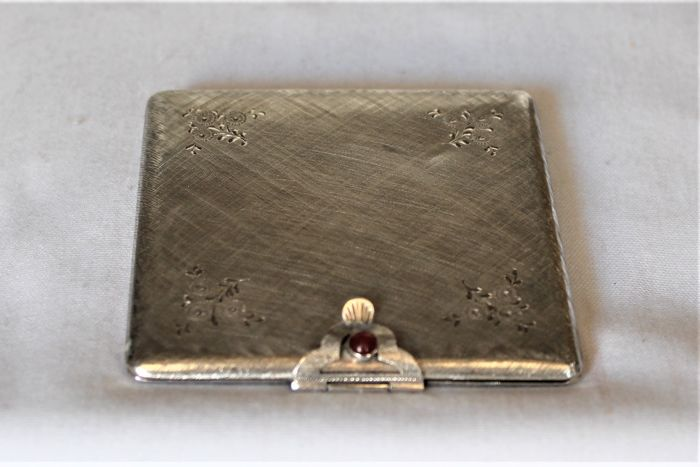 compact powder compact (1) - .800 silver - Italy - mid 20th century