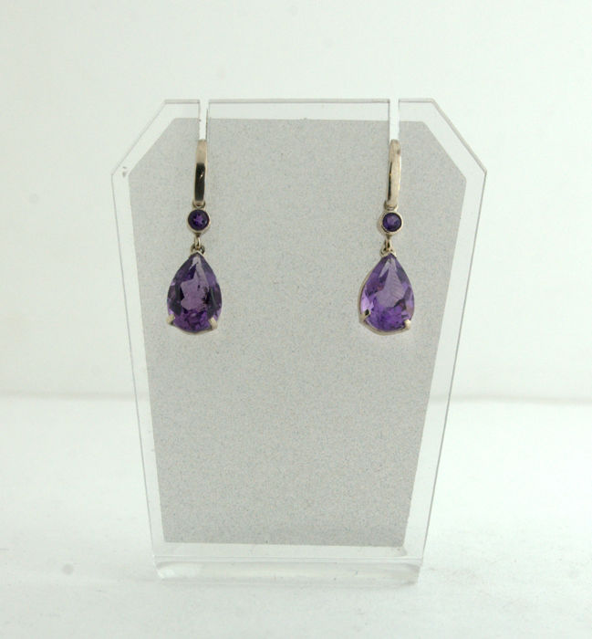 14 kt. White gold - Earrings - 5.80 ct Amethyst