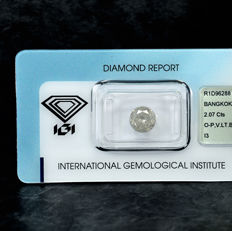 Diamante - 2.07 ct - Brillante - O-P - I3 - NO RESERVE PRICE